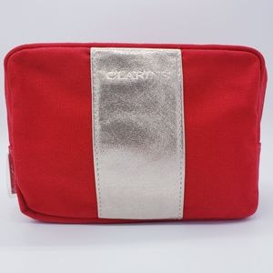 NWOT CLARINS Red Silver Stripe Makeup Cosmetic Bag